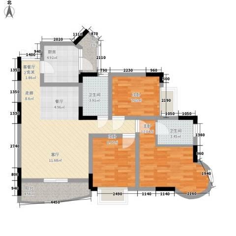 鸳鸯北湖郡3室1厅2卫1厨86.05㎡户型图