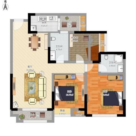 望龙东郡3室1厅2卫1厨125.00㎡户型图