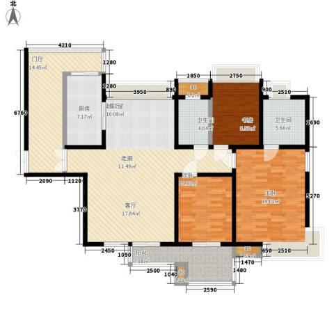 中海华庭3室0厅2卫1厨147.00㎡户型图