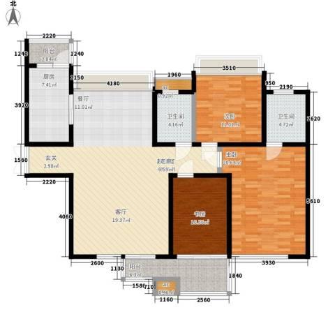 中海华庭3室0厅2卫1厨128.00㎡户型图