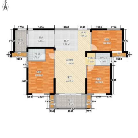 青园小区3室0厅2卫1厨128.00㎡户型图
