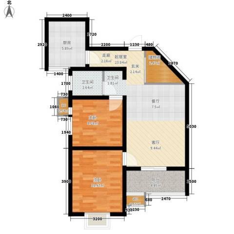 美丽的院子2室0厅1卫1厨90.00㎡户型图