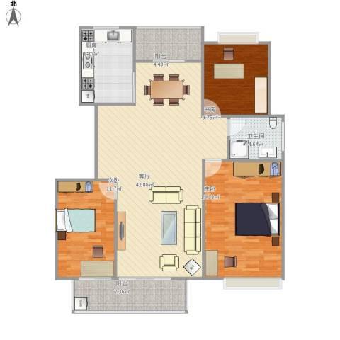 警韵之家3室1厅1卫1厨144.00㎡户型图