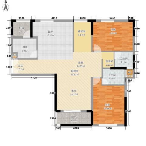 青园小区2室0厅2卫1厨225.00㎡户型图