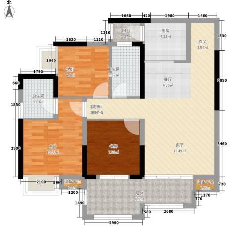升伟伟清泊客3室1厅2卫1厨78.00㎡户型图