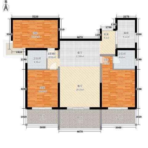 曲江观唐3室0厅2卫1厨142.00㎡户型图