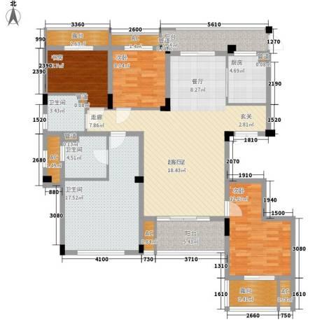 南昌莱蒙都会3室0厅3卫1厨137.00㎡户型图