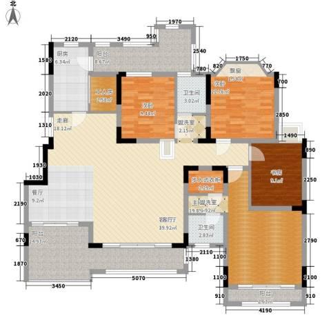 东原中央美地4室1厅2卫1厨144.00㎡户型图
