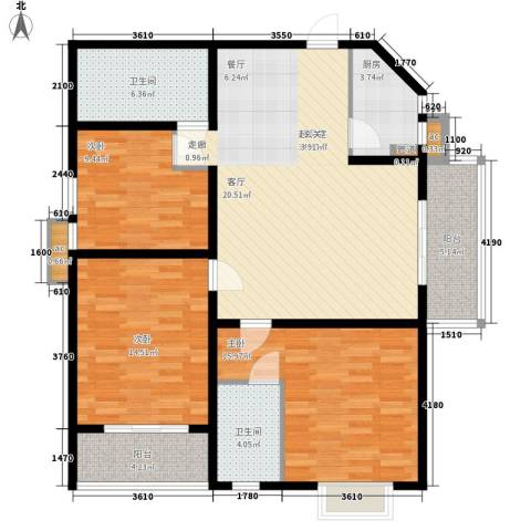 美丽的院子3室0厅2卫1厨145.00㎡户型图