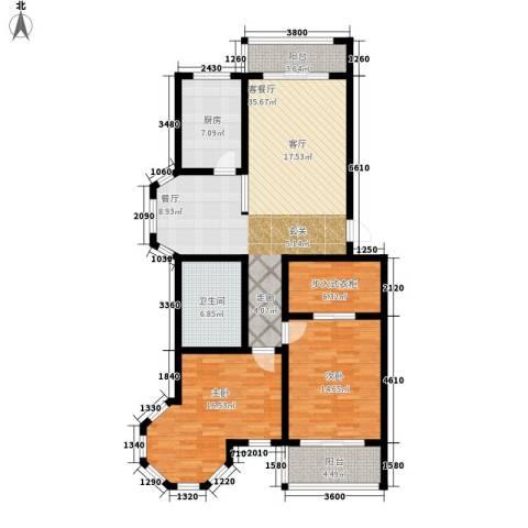 金城花园二期2室1厅1卫1厨109.00㎡户型图
