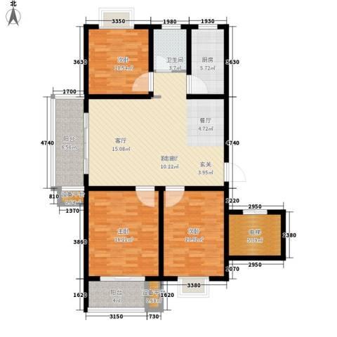 正大利农六号3室1厅1卫1厨117.00㎡户型图