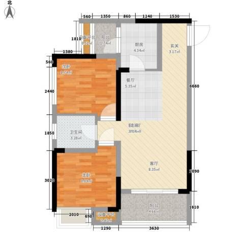 升伟伟清泊客2室1厅1卫1厨61.00㎡户型图