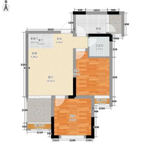 升伟伟清泊客2室1厅1卫1厨55.00㎡户型图
