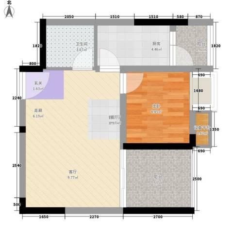 升伟伟清泊客1室1厅1卫1厨43.00㎡户型图