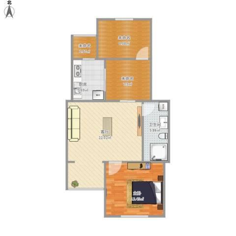 宝盛北里1室1厅1卫1厨85.00㎡户型图