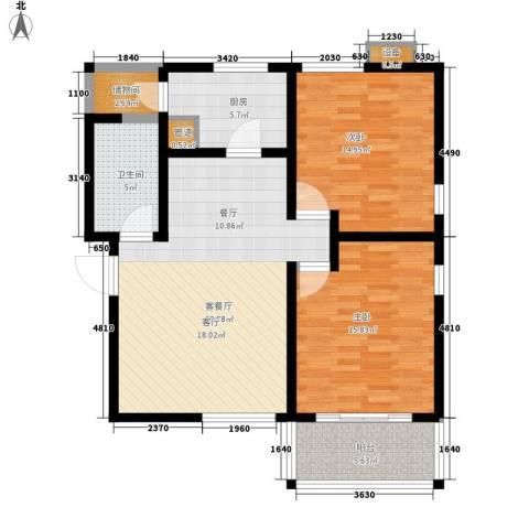 海御阳光三期2室1厅1卫1厨88.00㎡户型图