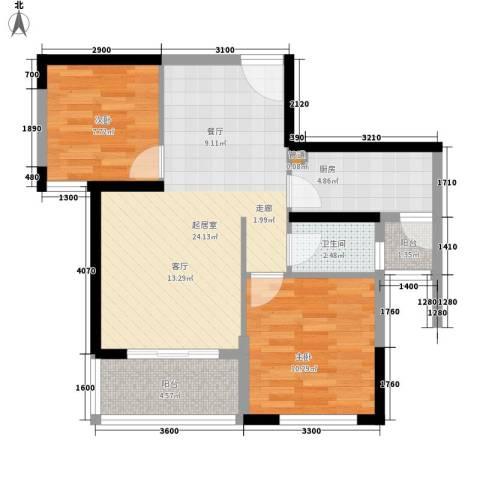 青园小区2室0厅1卫1厨80.00㎡户型图