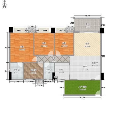 地王广场翰林3室1厅2卫1厨165.00㎡户型图