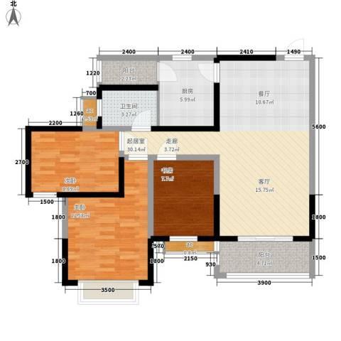 锦林山庄3室0厅1卫1厨96.00㎡户型图