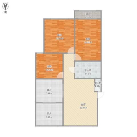 建兴小区3楼3室2厅2卫1厨132.00㎡户型图