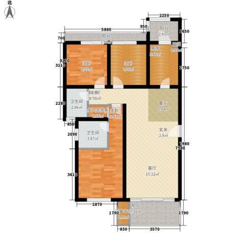 西安仪表厂101社区3室1厅2卫1厨126.00㎡户型图