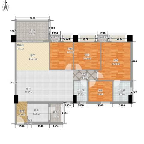 地王广场翰林4室1厅2卫1厨166.00㎡户型图