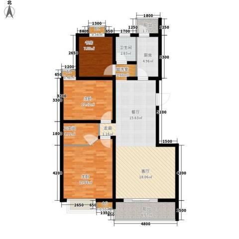 易合坊3室1厅2卫1厨117.00㎡户型图