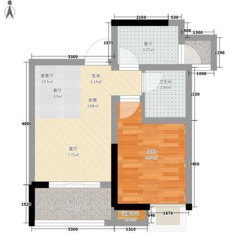 升伟伟清泊客1室2厅1卫0厨41.00㎡户型图