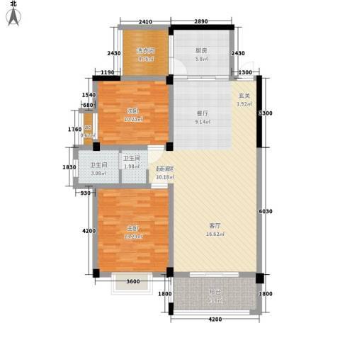 冠豪星城雅郡2室0厅1卫1厨120.00㎡户型图