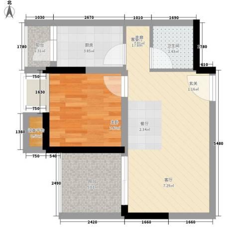 升伟伟清泊客1室1厅1卫1厨41.00㎡户型图