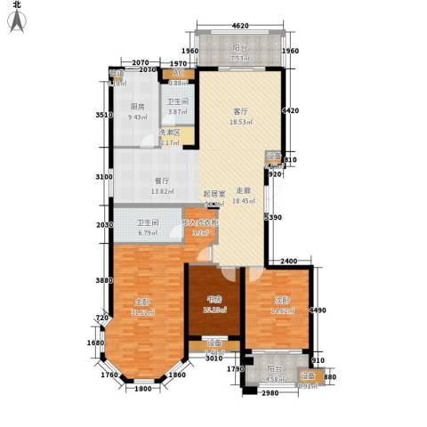麒麟公馆3室0厅2卫1厨163.00㎡户型图