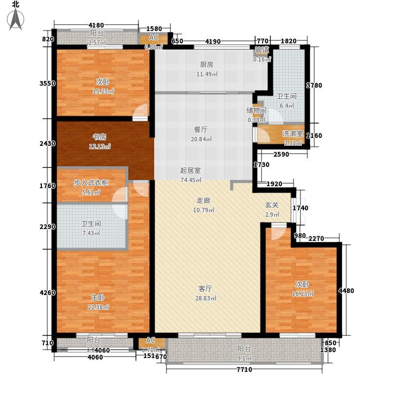 麒麟公馆198.00㎡C2户型 四室两厅两卫户型4室2厅2卫