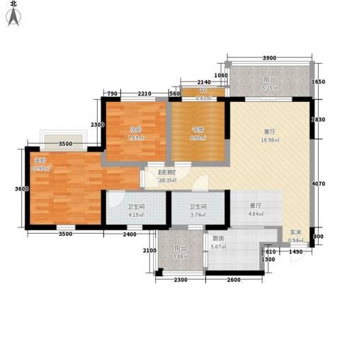 锦林山庄3室0厅2卫1厨98.00㎡户型图