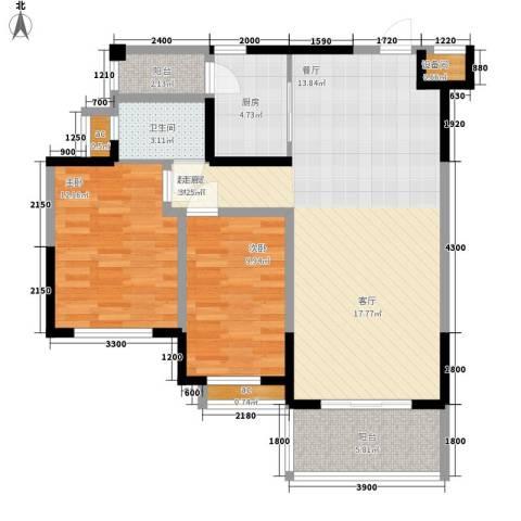 锦林山庄2室0厅1卫1厨92.00㎡户型图