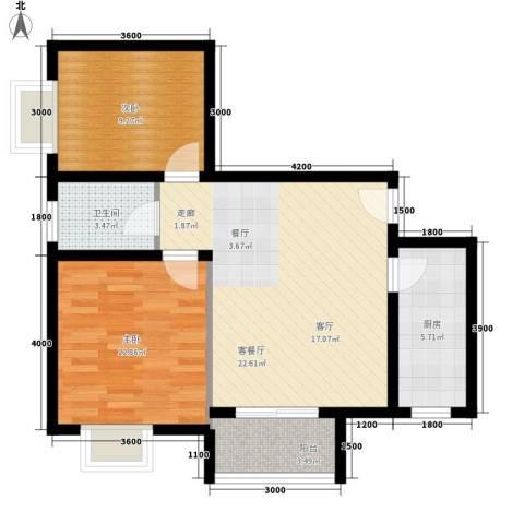 易合坊2室1厅1卫1厨86.00㎡户型图