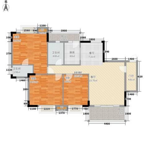 俊怡御景花园3室0厅2卫1厨143.00㎡户型图
