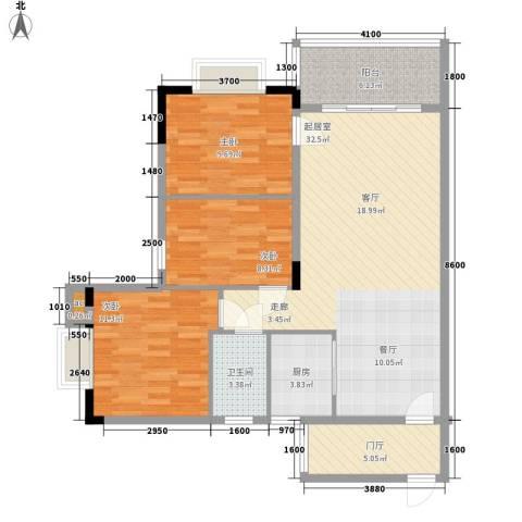 俊怡御景花园3室0厅1卫1厨90.38㎡户型图
