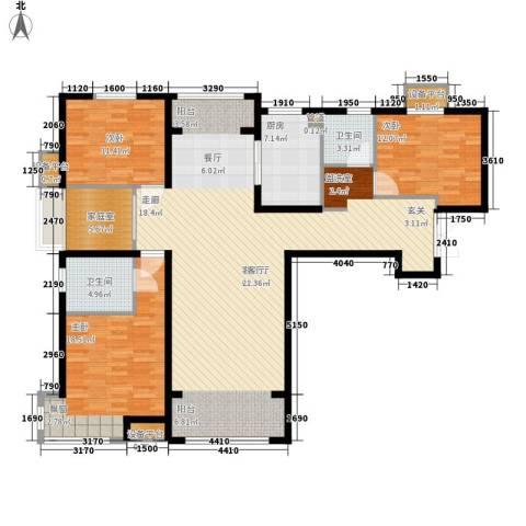 中交启航嘉园3室1厅2卫1厨144.00㎡户型图