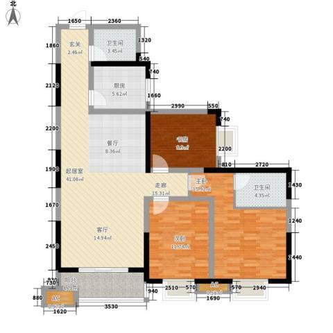 曲江春晓苑3室0厅2卫1厨136.00㎡户型图