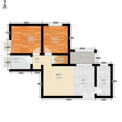 易合坊2室1厅1卫1厨84.00㎡户型图