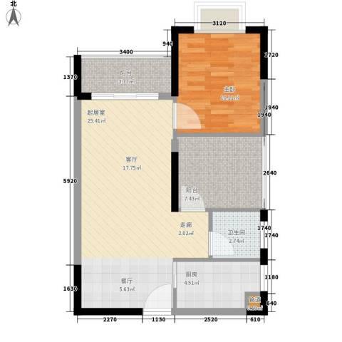 龙光・阳光海岸1室0厅1卫1厨76.00㎡户型图