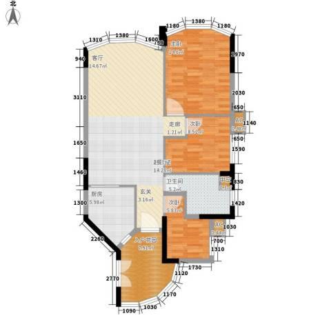 塞纳森晴3室0厅1卫1厨95.00㎡户型图