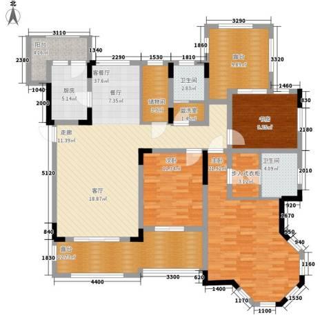 东原中央美地3室1厅2卫1厨127.43㎡户型图
