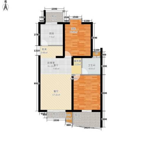 天江格调花园2室0厅1卫1厨109.00㎡户型图