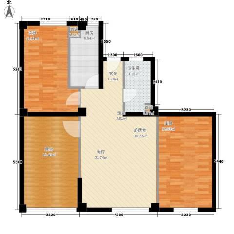 万科水晶城2室0厅1卫1厨117.00㎡户型图