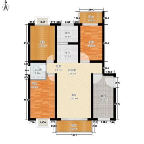北门新苑3室0厅1卫1厨140.00㎡户型图