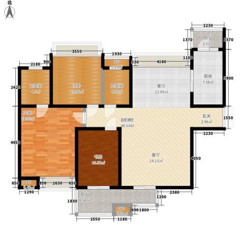 中海华庭3室0厅2卫1厨129.00㎡户型图