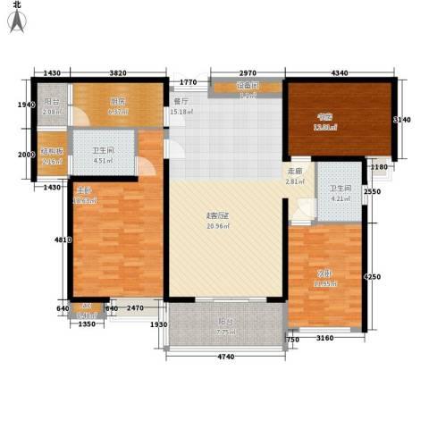 中海华庭3室0厅2卫1厨126.00㎡户型图