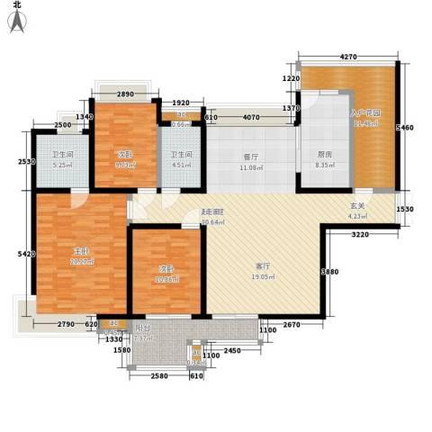 中海华庭3室0厅2卫1厨144.00㎡户型图