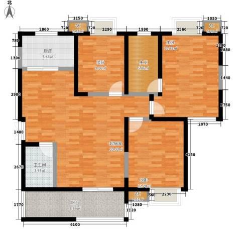 贝迪龙庭3室0厅1卫1厨142.00㎡户型图